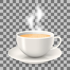 Hot cup of coffee with steam on saucer. Element on the transparent background. Cappuccino and latte coffee.