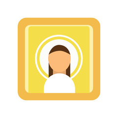 Painted icon of Saint man. Religious work of art. Male silhouette, Christian symbolism. Religion traditions of Orthodox church. Flat vector illustration