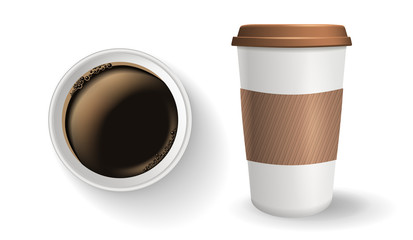 Top view of takeaway paper coffee cup. Vector composition. Realistic to go paper coffee cup with lid and protective ripple sleeve.