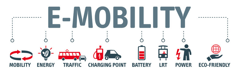 Banner e-mobility concept vector illustration with Symbols and keywords
