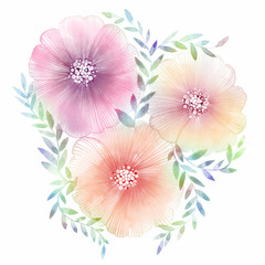 Charming bouquet of summer flowers. Lovely beautiful composition for wedding and birthday cards.