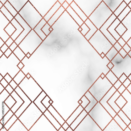 Marble Texture Vector Background With Rose Gold Lines Stock Image