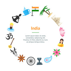 Cartoon India Banner Card Circle. Vector