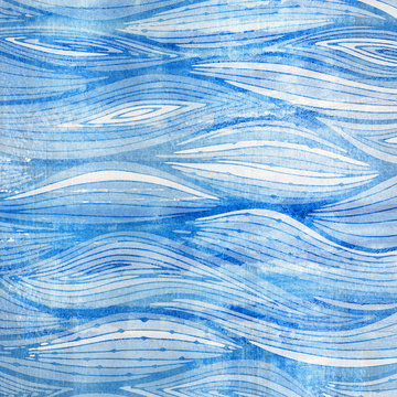 Light blue watercolor waves. Cool background with hand-drawn water pattern.