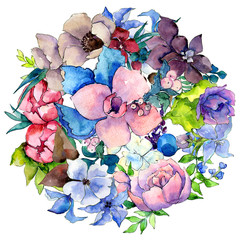 Flower composition in a watercolor style isolated. Full name of the plant: tropical flower. Aquarelle wild flower for background, texture, wrapper pattern, frame or border.