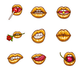 Pop art vector set of sexy female lips in gold lipstick with sparkles, seductive, kissing, bitten, with tongue, lollipop, cherry, rose, candy. Glossy, glamour mouths isolated on background.