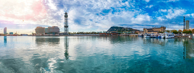 Barcelona Port Vell panorama with overhead cableway to Mount Montjuic