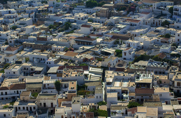 Lindos bird eye view over white roofs, Greece, Rhodes, Lindos
