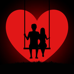 Man and woman embracing sitting on a swing in the background of the moon in the form of a heart. Two lovers sitting on a swing at sunset. Valentines Day Card. Vector illustration