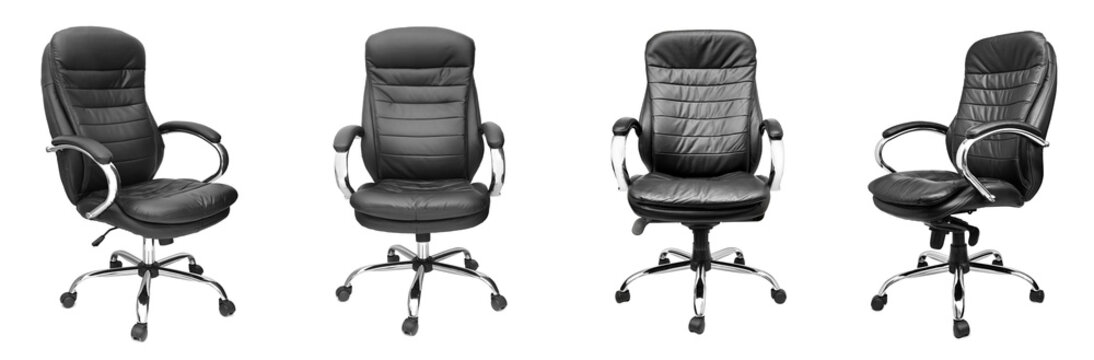 Assorted set of black leather office chairs isolated on white
