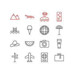 Vector illustration of 16 summer icons line style. Editable set of photo apparatus, airplane, certificate and other elements.