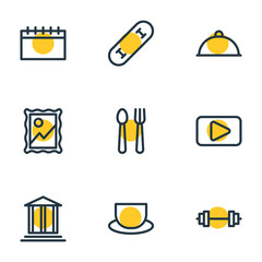 Vector illustration of 9 hobby icons line style. Editable set of theater, skating, movie and other elements.