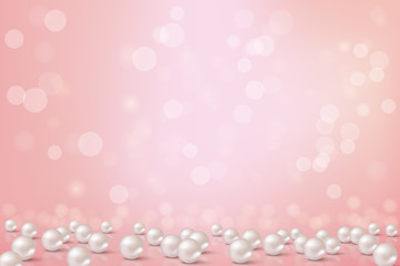 Beautiful pink background with pearls.Vector romantic illustration.