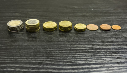 Euro coins in various denominations arranged in bars on the table.