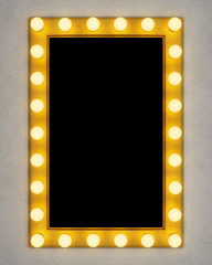Retro make-up mirror on concrete wall. 3D rendering