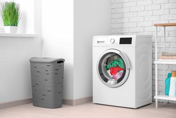 Laundry in washing machine indoors