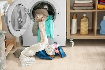 Laundry and washing machine indoors