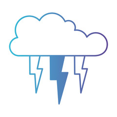 cloud with lightnings in degraded blue to purple color contour