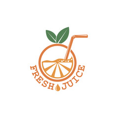 colorful orange fresh juice emblem