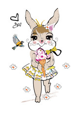Fashion hare with an ice-cream and a bird, decorated with flowers hand drawn graphic, kid print