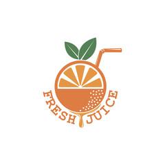 colorful orange fresh juice emblem