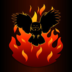 silhouette of an owl and a fire