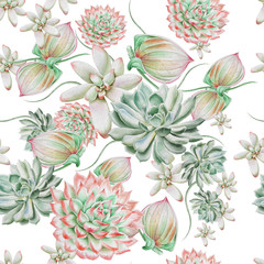 Bright seamless pattern with succulents. Watercolor illustration. Hand drawn.