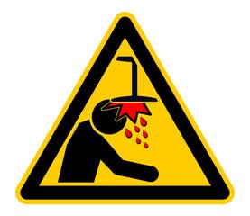 wso298 WarnSchildOrange - Warnzeichen: Warnung vor Hindernissen im Kopfbereich - Kopfstoss Gefahr - Stahlträger - Träger - english: warning sign - Mind Your Head - Headbutt Danger - Girder - xxl g5735