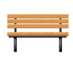 Outdoor bench metal and wood front view object for park cottage and yard vector illustration isolated on white background website page and mobile app design
