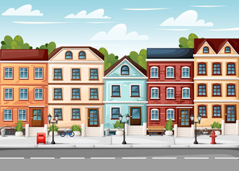 Street with colorful houses fire hydrant lights bench red mailbox and bushes in vases cartoon style vector illustration website page and mobile app design