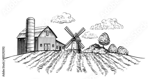 Farm Barn And Windmill On Agricultural Field Background Trees Rural Landscape Hand Drawn Sketch Style