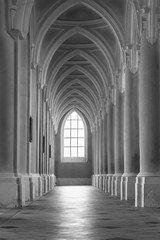 Image  arches in black and white. Arch in the Cathedral of the Assumption of the Blessed Virgin and St. John the Baptist and the former monastery in Kutn Hora, Kutna Hora. Czech Republic.