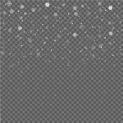 Falling snowflakes on gray background. Christmas snow. Snowfall. Winter is coming. Vector illustration