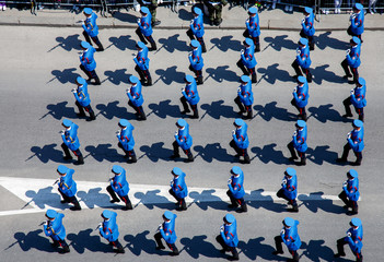Soldier formation on the military parade, View from the top.