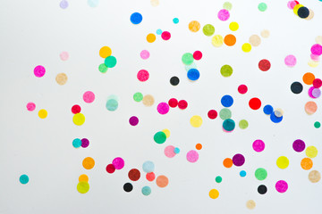 Colorful party confetti with copy space