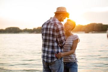 Romantic sunset on a beach