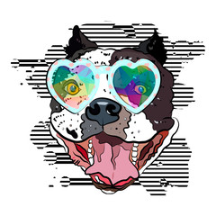Happy hippie bulldog in cute glasses. Print for your t-shirt. Vector illustration eps 10.