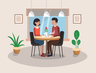 A couple in love is having supper in a cafe. Vector illustration.