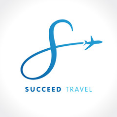 "S letter success travel company logo. Airline business travel logo design with letter ""s"". Speed travel vector logo template"