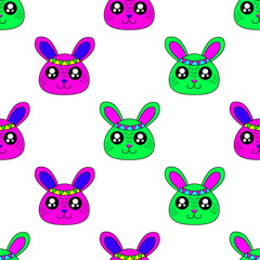 Cute kids rabbit pattern for girls and boys. Colorful rabbit on the abstract background create a fun cartoon drawing. The rabbit pattern is made in neon colors. Urban backdrop for textile and fabric.