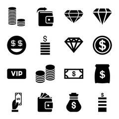 Rich icons. set of 16 editable filled rich icons