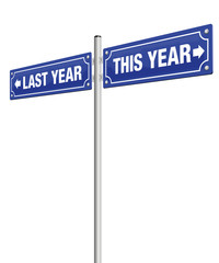 LAST YEAR and THIS YEAR, written on two road signs in opposite direction - symbolic for past and future, for finished and coming, for good resolutions for the new year.