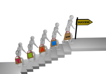 Personengruppe die eine Treppe hochgeht und in den Händen Taschen mit dem Wort Teamwork halten. Am Ende der Treppe steht ein Schild mit erfolg.