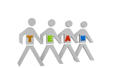 laufende Personengruppe mit dem Wort Team.