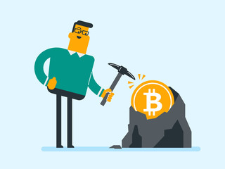 Young caucasian white man with pickaxe working in bitcoin mine. Concept of bitcoin mining, blockchain network technology, initial coin offering and cryptocurrency tokens. Vector cartoon illustration.