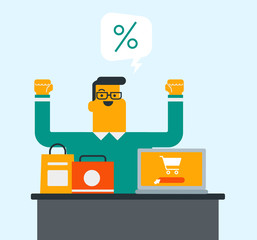 Young cheerful caucasian white man sitting at the table with bags and laptop computer with shopping cart on screen. Man using a laptop for shopping online. Vector cartoon illustration. Square layout.