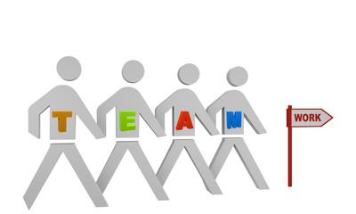 Personengruppe mit dem Wort Team gehen in Richtung eines Schildes mit dem Text work.