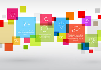 Infographic with Multicolored Squares and Business Icons