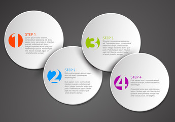 4 Step Circle Infographic on a Dark Background