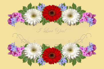 White and red gerberas,purple periwinkle and pink phloxes with greeting I Love you on a yellow background